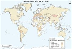 The world oil production map shows the amount of oil produced by various countries. The map indicates that Saudi Arabia is the largest prouder of oil among the OPEC countries and United States among the non OPEC countries. World Oil, Oil Production, Countries, Maps, Green, Blue Prints, Map, Cards