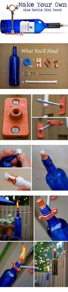 wine-bottle-tiki-torch. Learn how to make these. #DIY #garden #backyard