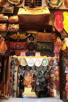 Handbag shop in Fez, where most of these beautiful LEATHER bags would cost you $10 ot $20