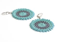 Mint Grey Crochet Earrings / Geometric Earrings / Fashion … | Flickr