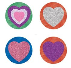 Glitter Hearts ver 1 1 inch round digital collage sheet