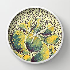 Green and Yellow Peacock Wall Clock by VessDSign - $30.00
