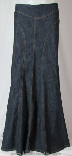 Stitchings Long Jean Skirt...http://www.theskirtoutlet.com/stitchings-long-jean-skirt.html