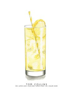 Tom Collins MidCentury Cocktail Watercolor by cheryloz on Etsy Watercolor Food, Watercolor Illustration, Lemon Watercolor, Tom Collins Cocktails, Cocktail Names, Cocktail Illustration, Gin Lemon, Yellow Foods, Cocktail Ingredients