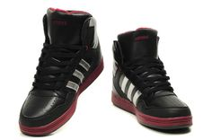 176b Adidas Sms High Top Men Shoes Black Dark Red Silver