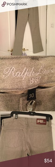Ralph Lauren. Heather grey jeans Ralph Lauren. Heather grey jeans in size 30 . Leg is straight with a very tiny flare at the very bottom .super nice fabric and very fashionable color ...great with boots...worn once Ralph Lauren Jeans