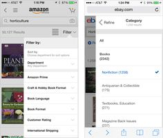 Mobile Facet Tray Overlay Examples #ux #search