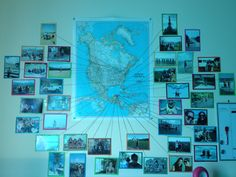 Pins on the map with string leading to the picture of every place I've been.
