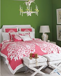 Preppy Bedroom - betsy burnham. The white really pops in this pink and green preppy bedroom. Unique shades of pink and green but look cool together.