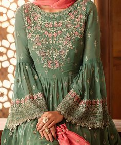 Sage Green & Coral Pink Designer Heavy Embroidered Georgette Sharara Suit Sage Green & Coral Pink Designer Heavy Embroidered Georgette Sharara S – Saira's Boutique Pakistani Dress Design, Pakistani Dresses, Indian Dresses, Indian Outfits, Bohemian Dresses, Pakistani Suits, Sharara Suit, Salwar Kameez, Sharara Designs