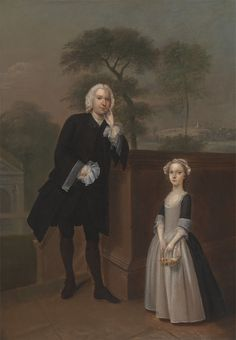 An Unknown Man with His Daughter. Arthur Devis. 1746-48.