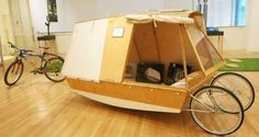 Boat Plans - A micro houseboat that you can tow with your bike - Master Boat Builder with 31 Years of Experience Finally Releases Archive Of 518 Illustrated, Step-By-Step Boat Plans Boat Bed, Shanty Boat, Portable Shelter, Boat Kits, Plywood Boat, Water Bed, Cargo Bike, Glamping, Boat Design