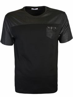 Versace Collection Black Chest Pocket T-Shirt - Versace Collection black chest pocket t-shirt from the Versace Collection features a crew neck, single chest pocket with ring detail, the metal medusa square logo attached on the bottom hem and shimmer detail to the cuffs, shoulders & reverse.