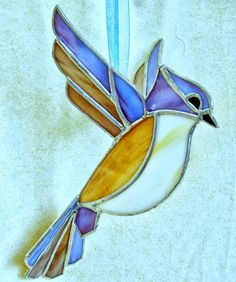 Stained glass titmouse sun catcher Large 3D glass by ClearerImage