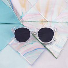 KAIBOSH | (UNKNOWN) DESTINATION sunglasses in CRYSTAL. Get them now on www.kaibosh.com Cat Eye Sunglasses, Round Sunglasses, Clear Crystal, Crystals, Collection, Style, Swag, Round Frame Sunglasses, Crystal