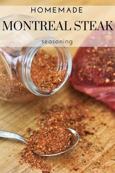 Montreal Steak seasoning is one of those staple blends to have on your pantry shelf when it's the perfect night for grilling up some steaks or burgers. Seared Salmon Recipes, Pan Fried Salmon, Steak Marinade Recipes, Grilled Steak Recipes, Steak Marinades, Grilled Food, Homemade Spices, Homemade Seasonings, Homemade Gifts