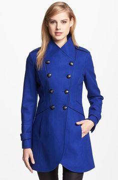 """GUESS Double-Breasted Military Coat in bright blue. Just replace the buttons with large silver ones, and you have Ziva David's winter coat from """"Faith. Nordstrom Coats, Stylish Coat, Love Fashion, Womens Fashion, Fashion Trends, Autumn Winter Fashion, Coats For Women, Double Breasted, Mantel"""