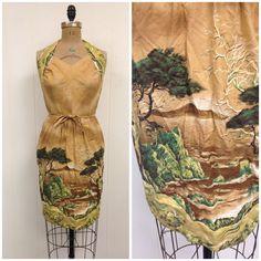 Vintage 1950s Novelty Scenic Print Dress 50s Monterey California