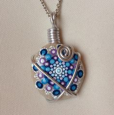 Unique Mandala Necklace Blue Stone Pebble by CreateAndCherish