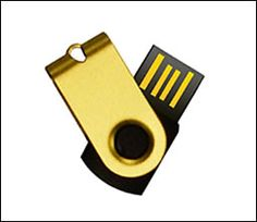 Gold swivel mini-USB