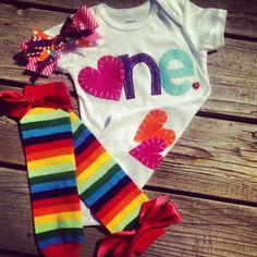 Rainbow Birthday Outfit Rainbow Heart by SnickerDoodleSpokane, $42.95