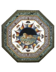 AN ITALIAN OCTAGONAL MICROMOSAIC AND MARBLE TABLE TOP, ROMAN, THIRD QUARTER 19TH CENTURY centred by a beaded medallion depicting a recumbent tiger within a border of stylized drapery and eight butterflies and stylised labyrinth motif and verde antico band within a gilt-bronze border, on a later verde antico support (not illustrated)