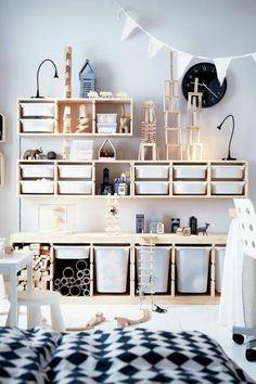 TROFAST Storage combination with boxes – white, white – IKEA - Kids playroom ideas Ikea Trofast Storage, Ikea Storage Kids, Storage For Toys, Trofast Hack, Living Room Toy Storage, Large Toy Storage, Hidden Storage, Toy Storage Furniture, Childrens Bedroom Storage