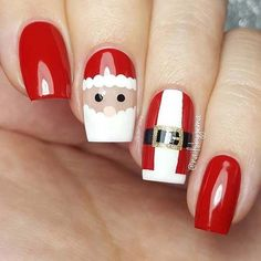 Cute Santa Nail Art Design for Christmas #santaclaus #christmas #unaselegantes