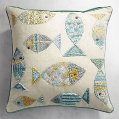 Embroidered Swimming Fish Pillow Source by Cushion Embroidery, Diy Embroidery, Embroidery Stitches, Hand Embroidery Designs, Embroidery Patterns, Fish Pillow, Fabric Fish, Punch Needle Patterns, Creative Textiles