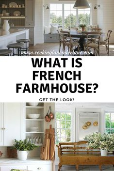 do we want general european farmhouse, french country, or french farmhouse? Modern French Country, French Country Kitchens, French Country Bedrooms, French Country Living Room, French Country Farmhouse, Farmhouse Interior, Farmhouse Design, Farmhouse Style, White Farmhouse