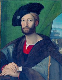 15. Giuliano de Medici by Raphael. 1515-16.  This man wearing cape with fur trim, velvet hat with brooch.
