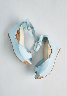 b226bab0184 Sweetheart And Sole Wedge in Sky | Mod Retro Vintage Heels | ModCloth.com  Zapatos