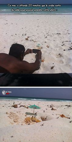 This guy waited 20 minutes while a crab sorted sand to get this photo.