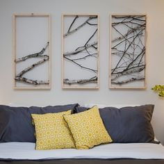33 Awesome Tree Branch Headboard DIY Wooden Ideas Get The Rustic Look Frames Queen Diy tree branch queen headboard. diy Home Design Branch Decor, Branch Art, Diy Casa, Diy Holz, Diy Décoration, Metal Wall Decor, Awesome Bedrooms, Wooden Diy, Home Projects