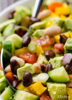 Mexican Bean Salad Recipe is a healthy vegetable salad recipe with beans, cilantro and cumin. Can be made ahead and is perfect for potlucks.   ifoodreal.com