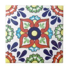 Mexicaanse Talavera tegel (rood, groen, geel, Tegeltje Vierkant Small