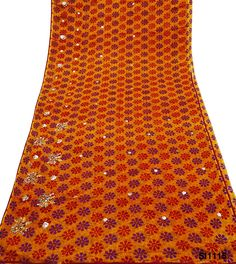 Indian Women Sari Orange Embroidered Party Wear Used Dress Sarong DIY Clothing ** See this great product.