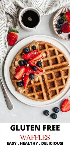 These healthy gluten free waffles are a breakfast delight of light and fluffy waffles cooked to golden brown perfection. These homemade waffles are made with a combination of oats, almond milk, banana and eggs all easily whipped up in the blender. Don't forget to make extra, so you can eat healthy waffles all week! This banana oat waffle recipe is about to become a staple in your house!