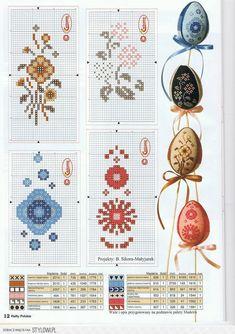 Яйца, вышитые крестиком, декорированные ниткой. Схемы,… na Stylowi.pl
