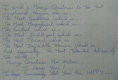 «Happy Christmas Miss Watson »