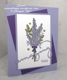 This is one of the cards we made at our monthly stamping club meeting last week. It uses three products from the new Sale-a-bration Catalog. The flowers are from a stamp set called Lots Of Lavende… Lavender Stamp, Do It Yourself Crafts, Stamping Up Cards, Mothers Day Cards, Cards For Friends, Card Sketches, Flower Cards, Homemade Cards, Your Cards