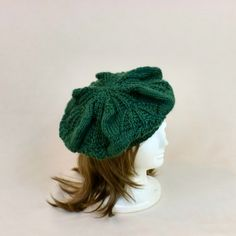 Slouchy Beanie Hat Green Beret Tam Knit Baggy by AllThingsTangled
