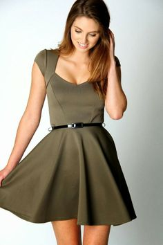 Sweet neckline skater dress