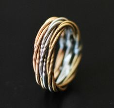 3 Stacked Guitar String Rings Triple Wrap Silver by dremeWORKS