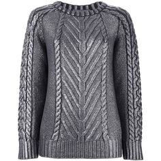 Alberta Ferretti Cable Knit Sweater (€580) ❤ liked on Polyvore featuring tops, sweaters, grey, grey sweater, cableknit sweater, chunky cable knit sweater, gray sweater and alberta ferretti tops