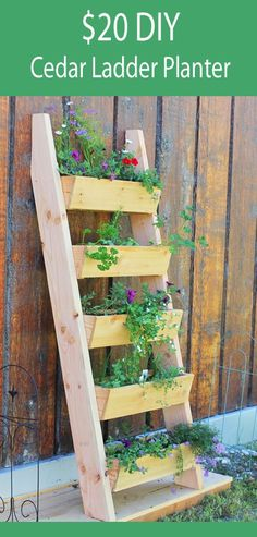 DIY: How to Build a Vertical Tiered Ladder Garden Planter - using cedar fence pickets - Free and Easy DIY Project and Furniture Plans - via Ana White
