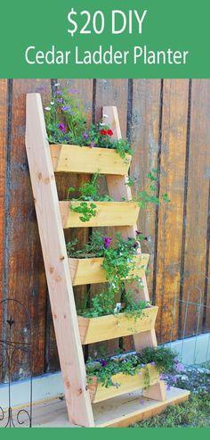 vertical tiered ladder planter for under $20 - beginner plans from Ana-White.com