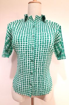 PLEATS PLEASE by Issey Miyake Green Dots design shirt by wafunoiro, $88.00