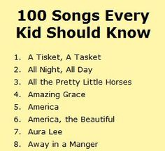 From Twin Sisters website.  A list of 100 songs every kid should know.  - Do you have a list of songs students should know?  Is this list missing one of your essential songs?