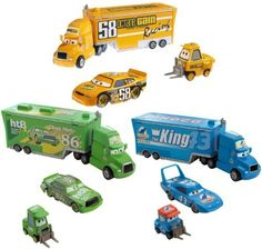 Disney Pixar Cars 1:55 Die Cast Exclusive Pit Crew Set Case Of 4 by Mattel. $299.99. 2x Exclusive Pit Crew Set Team Octane Gain. 1x Exclusive Pit Crew Set Team HTB. 1x Exclusive Pit Crew Set Team Dinoco. Each set includes trailer,car and hauler. Highly detailed officially licensed cars. Case of 4 includes: Race car stores inside semi truck Window box packaging Brand new Cars takes place in a world populated by anthropomorphic motor vehicles. The film begins with the last race o...